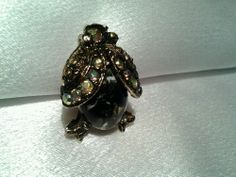Vintage Gold AJC B&W Beetle Bug  Marble Lucite Belly Aurora Borealis Brooch Pin