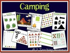 camp preschool: Here are some of the printables included in this unit: Size Sequencing Roll & Graph Shadow Match T is for Tent Beginning Writing/Cutting Practice Spelling Pages Patterns Counting Clip Cards Which is Different? Number Order Puzzle