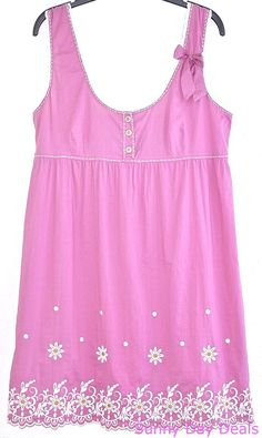 Anthropologie Dress Cotton Silk Sleeveless Sundress Featherbone Pink Daisy M #Anthropologie #BeachDressEmpireWaistSundress #Casual
