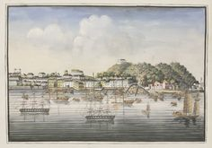 Four Canton gouache Paintings, probably mid 19th century, of southern Chinese ports, including the Macao Harbour, Macao Inner Harbour, The Bund Shanghai and Boca Tigris on the Pearl River, each minutely detailed scene with buildings, sampans and European three-masters, two flying the red duster, each on European laid paper with watermark, 15.5 x 22cm (4) SOLD FOR £2,600 The Bund, Pearl River, Gouache Painting, Asian Art, Shanghai, Art For Sale, Masters, 19th Century, Buildings