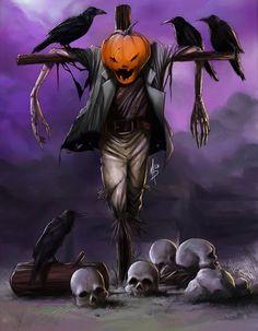 Halloween harvest by sabin-boykinov on DeviantArt Halloween Scarecrow, Halloween Artwork, Halloween Painting, Halloween Prints, Halloween Pictures, Creepy Halloween, Halloween Horror, Vintage Halloween, Happy Halloween