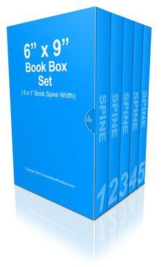 6 x 9 Inches Multi Book Box Set Mockup