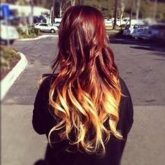 Red and Orange ombre hair