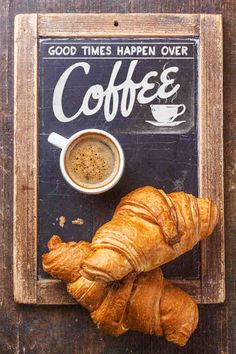 good times happen over coffee (and croissants).more like croissants for me, and coffee for you. Coffee Shop, I Love Coffee, Coffee Art, Coffee Break, My Coffee, Morning Coffee, Coffee Cups, Real Coffee, Coffee Drawing