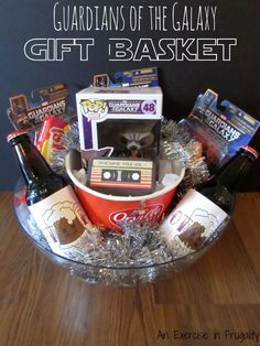 Guardians of the Galaxy Gift Basket perfect for any Marvel comic book fans, or fans of the movie! How to make your own, plus free printables! Such a cute gift idea for Easter baskets too!! #OwnTheGalaxy #ad