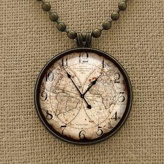 Vintage look world map clock pendant Clock by WinsomeTrends, $9.85