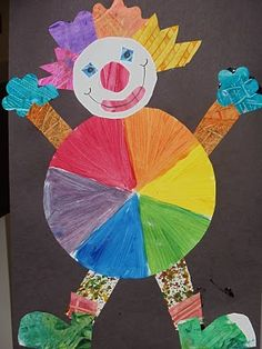 Color Wheel Clown Clown Crafts, Circus Crafts, Color Wheel Projects, Art Projects, Circus Activities, Color Wheel Art, Kindergarten Projects, 3rd Grade Art, Art Lessons Elementary