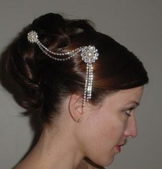 I just really like this. Rhinestone Chain Dangle Hair Comb Brooch Wedding Bride Bridesmaids Formal Occasion