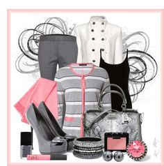 """Petal pink and gray for work"" by luchenskil on Polyvore"