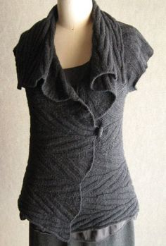 Sunday Knits Patterns - Adam's Ribs Cap-Sleeve Wrap Pattern - Large Photo at Jimmy Beans Wool  I find this pattern intriguing