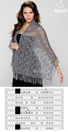 ideas for crochet lace scarf pattern charts Schals Rechteck Lace Knitting Stitches, Lace Knitting Patterns, Shawl Patterns, Lace Patterns, Knitting Needles, Knitting Machine, Knitting Tutorials, Free Knitting, Finger Knitting