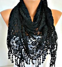 ON SALE - Black Lace Scarf - Shawl Scarf Women Scarves Cowl Scarf Bridesmaid Gift - fatwoman perfect for head covering. How To Have Style, My Style, Cozy Scarf, Lace Scarf, Scarf Styles, Womens Scarves, Dress To Impress, Fashion Beauty, Fashion Accessories