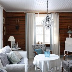 inspiroivia kuvia aiheesta m kki scandinavian cottagelog housescabin ideascountry stylecountry Farmhouse Design, Farmhouse Decor, E Room, Wooden House, Log Homes, Interior Decorating, Sweet Home, Home And Garden, Cottage