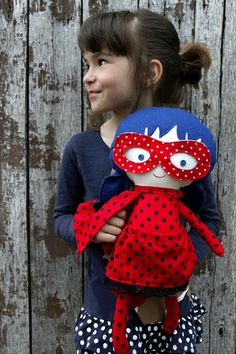 LADYBUG RAG DOLL toy, super hero doll girl toy for toddler custom gift with superhero mask and cape with dots