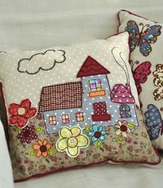 Discover thousands of images about Patchwork Cottage Cushion Applique Cushions, Patchwork Cushion, Sewing Pillows, Quilted Pillow, Pin Cushions, Applique Patterns, Applique Designs, Quilt Patterns, Crazy Quilting