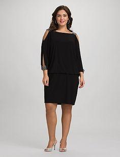 eba983535ec Plus Size Embellished Cold-Shoulder Dress
