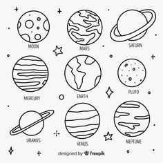 Hand drawn planets in doodle style Premium Vector Freepik vector design hand sonne - Easy Doodles Drawings, Easy Doodle Art, Doodle Art Drawing, Cute Easy Drawings, Cool Art Drawings, Drawing Ideas, Cute Easy Doodles, Hand Doodles, Tattoo Drawings
