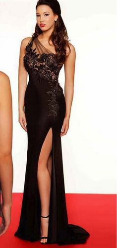 Sexy One Shoulder Chiffon Lace Applique Celebrity Dress Prom Gown Mermaid Evening Dresses For Women