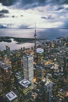 Above Toronto, Ontario, Canada 🍁 Torre Cn, Travel Around The World, Around The Worlds, Places To Travel, Places To Visit, Photos Voyages, Urban Landscape, Canada Landscape, City Landscape