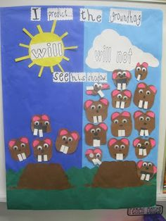 Ground hog day bulletin board math activity!