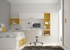 Kids Touch 39 Bloc: Dormitorio juvenil Juvenil Camas Compactas y Nidos Bloc compuesto de cama compacta con cama cajones, escritorio, estantería y armario.