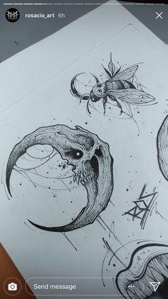 Creepy Tattoos, Creepy Drawings, Dark Art Drawings, Tattoo Design Drawings, Art Drawings Sketches, Cute Tattoos, Body Art Tattoos, Zombie Girl Tattoos, Skull Thigh Tattoos