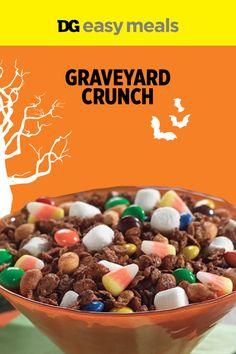 and sweet? Talk about a scary-good combination. This graveyard crunch snack mix is perfect for any monster bash.Salty and sweet? Talk about a scary-good combination. This graveyard crunch snack mix is perfect for any monster bash. Halloween Food Crafts, Halloween Party Snacks, Halloween Appetizers, Halloween Goodies, Halloween Desserts, Halloween Graveyard, Halloween Birthday, Halloween Candy, Diy Halloween