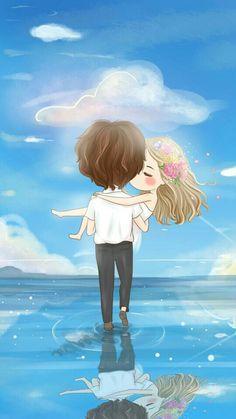Illustration, kawaii, and wallpaper image Love Cartoon Couple, Chibi Couple, Anime Love Couple, Cute Couple Drawings, Cute Couple Art, Cute Drawings, Kawaii Chibi, Anime Chibi, Kawaii Anime