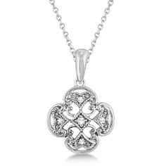 This beautiful and affortable antique style four leaf clover diamond pendant necklace features brilliant cut round diamonds beautifully set in the sterling silver setting. With a filigree design and stylish milgrain edges, this vintage clover necklace for women is sure to bring you good luck.<p>Mix and match this leaf necklace with our other fine jewelry.<p>Enjoy a FREE .925 Sterling Silver chain with this silver pendant necklace.