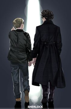 5iveflavours: BBC Sherlock fanart by ちゃま (I love that subtle touch Sherlock does.)