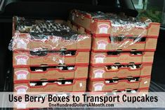 Use berry boxes to transport cupcakes safely.