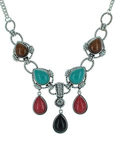 $14.99 Loving this Red & Black Bib Necklace & Earrings on #zulily! #zulilyfinds