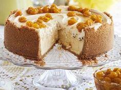 Gebakte pekanneutkaaskoek met karamelsous en frambose Cheesecake Cookies, Mini Cheesecakes, Allrecipes, Pudding, Peppa Pig, Breakfast, Sweet, Desserts, Food