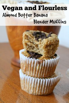 Vegan and Flourless Almond Butter Banana Blender Muffins - Wow! Use a low carb sweetener for these and my Homemade Chocolate Chips.