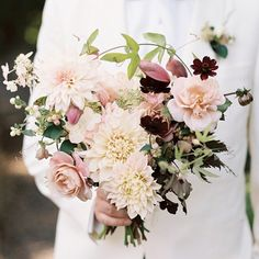 Bouquet of roses, dahlias, chocolate cosmos, astrantia, passion vines and variegated hydrangea by Saipua. Photo by Jillian Mitchell (via Martha Stewart Weddings). Summer Wedding Bouquets, Fall Wedding Flowers, Bride Bouquets, Bridal Flowers, Fall Flowers, Autumn Wedding, Floral Wedding, Fall Bouquets, Gold Wedding