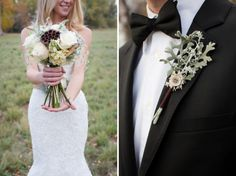 flowers by laceandliliesflowers.com, Autumn bride and groom / ShutterChic Photography