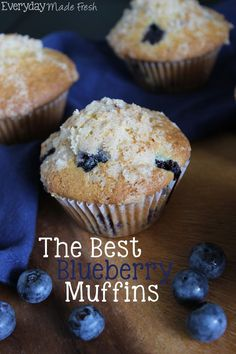 Soft and fluffy, and full of fresh plump blueberries, this recipe for The Best Blueberry Muffins put the rest to shame! | EverydayMadeFresh...