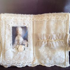 Marie Antoinette fabric book lace pockets french by ShnabbyStudio, $33.00