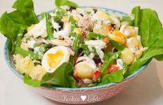 Krieltjessalade met tonijn en sperziebonen Tapas, Happy Foods, Potato Salad, Food To Make, Main Dishes, Food And Drink, Veggies, Healthy Eating, Favorite Recipes