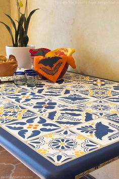 This is DIY stenciled Mexican talavera tile! You can do it too, no actual tiles needed, it's all paint.
