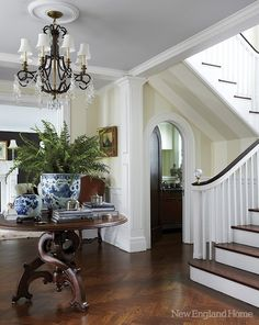 I Love Unique Home Architecture. Simply stunning architecture engineering full of charisma nature love. The works of architecture shows the harmony within. Style At Home, Foyer Decorating, Interior Decorating, Interior Ideas, Decorating Ideas, New England Homes, New Homes, Decoration Entree, Entry Foyer