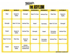 Insanity Asylum Ill be done December 2012 (too bad zombies will eat us on the - JK) Insanity Calendar, Schedule Calendar, Workout Calendar, Insanity Workout Motivation, Insanity Workout Schedule, Insanity Fitness, Home Exercise Program, Workout Programs, Insanity Meal Plans