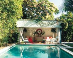 Sommers reinvented the house's existing cabana with touches like a console from Hollyhock and pillows from Habal Construction.