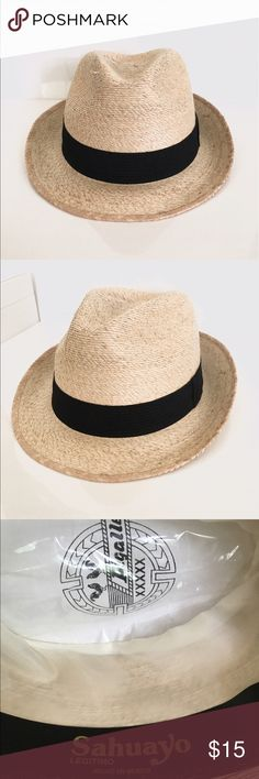 Authentic Handmade Mexican Fedora! This handmade Mexican fedora hat is unisex! The hat is made of palm and is hand braided. It also has genuine leather lining the inside. Sahuayo Accessories Hats
