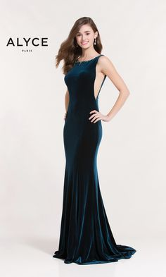 Evening Dresses Prom Dresses by ALYCE PARIS<BR>aay8025<BR>Slim velvet dress with side cutouts beaded boat neckline and open back with keyhole.