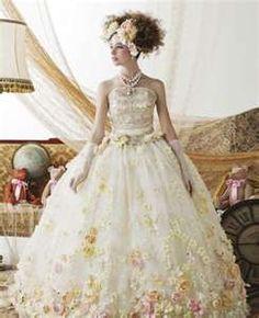 Marie Antoinette Inspired Corset Flower Adorned Ballgown Wedding Dress Dresses Pretty Beautiful