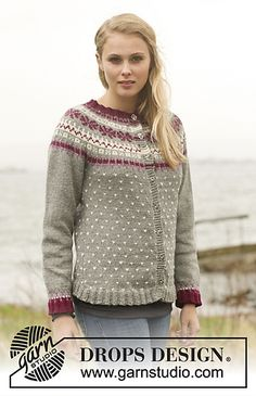 """September Jacket - Knitted DROPS jacket with round yoke and Nordic pattern in """"Lima"""". - Free pattern by DROPS Design Knitting Patterns Free, Knit Patterns, Free Knitting, Free Pattern, Vogue Knitting, Knitting Socks, Tejido Fair Isle, Punto Fair Isle, Drops Design"""