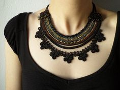 Beaded necklace crocheted with black gray by irregularexpressions