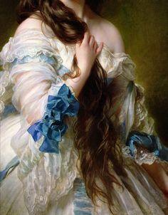 Details of some female portraits (white dresses) by Franz Xaver Winterhalter.