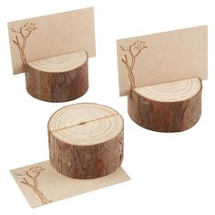 Kate Aspen Rustic Real-Wood Place Card/Photo Holder – Set of 12